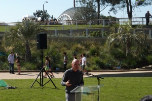 James Corner speaking Saturday at the Grand Opening of Tongva Park