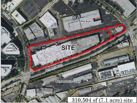 An aerial showing the location of the Papermate factory on Olympic, across from Bergamot Station. (From the S.M. planning staff's PowerPoint presentation.)