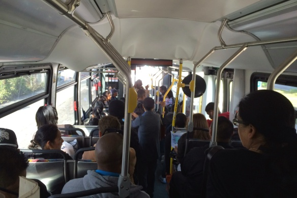 Passengers on the 534 bus returning home from work