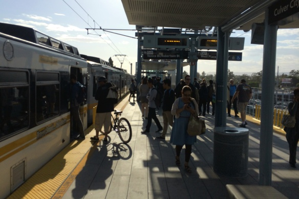 Boarding the Expo train in Culver City
