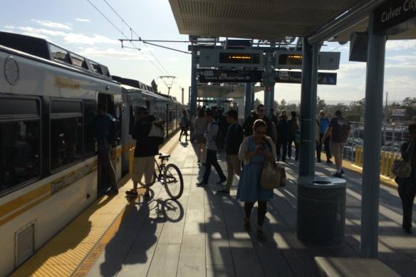 Boarding the Expo train in Culver City