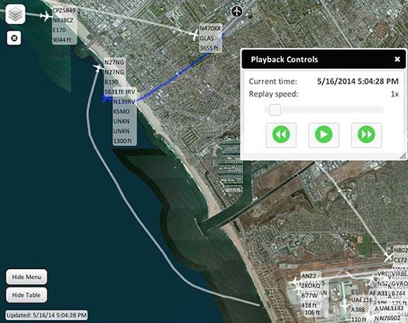 PublicVue Screen Shot showing flights around Santa Monica