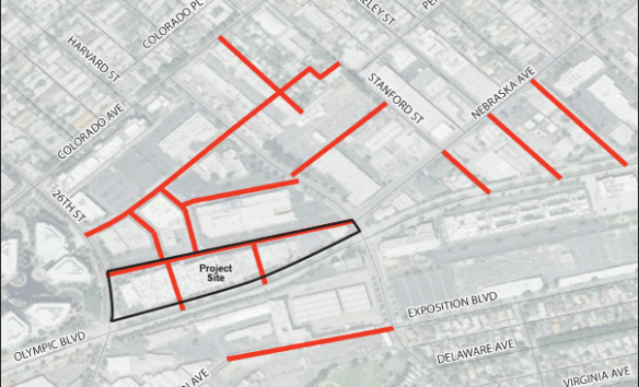 Map showing future streets planned for area in and around Paper Mate site