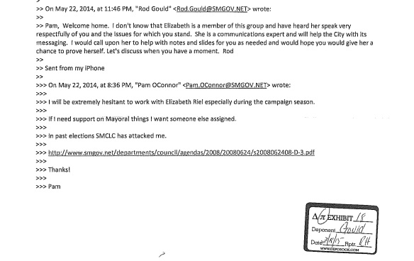 Pam O'Connor's first email to Rod Gould about Elizabeth Riel, and his reply.