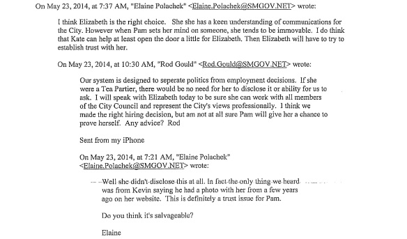 Emails between Gould and Elaine Polachek Friday morning.