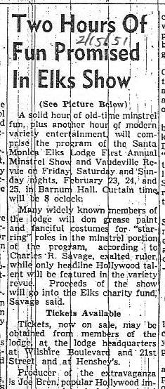 From the Santa Monica Evening Outlook, Feb. 15, 1951