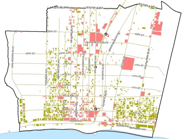 A map from the Section 9212 report (fig. 4, page 26) showing all the buildings (residential in green, commercial in pink) in Santa Monica that would have required voter approval if LUVE had been in effect when they were built.